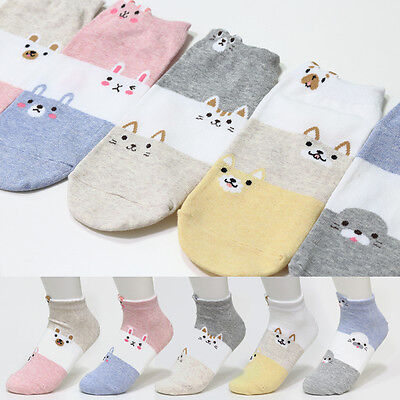 5 Pairs Cute Animal Character Socks Women Boy Girl Big Kid s New Low Ankle Socks