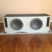 "Two JL Audio 12W7 12.5"" Subwoofers in custom box"
