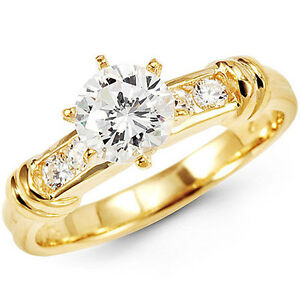 Round Channel Set 14K Yellow Gold Engagement Ring