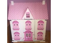 ELC Rosebud Cottage Dolls House with Furniture, Family, Pets, Cafe & Florist