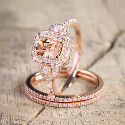 Elegant 18K Rose Gold Filled Morganite Gemstone Ring Set Bridal Wedding (18k Gold Gemstone Ring)