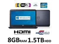 Dell Latitude 3540 15.6'' Core i5 8GB RAM 1.5TB HDD Windows 10 PC Laptop 1 Year Warranty + Free Case