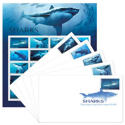 USPS New Sharks Keepsake with set of 5 Digital Color Postmarks