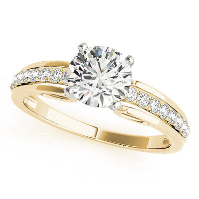 0.62 Carat Total Weight Diamond Cathedral Engagement Ring in Yellow Gold GIA