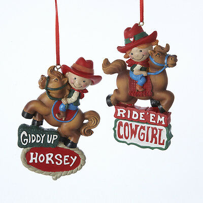 Kid Cowboy and Cowgirl Ornament](Cowboy And Cowgirl)