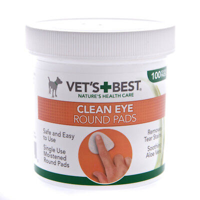 Vets Best Clean Eye Pads Moist Wipes with Aloe Vera for Tear Stains x100