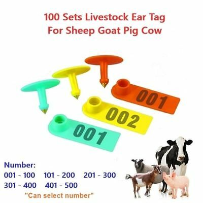 100pcs Ear Tags Number 1-500 Plastic Livestock Id Label For Goat Sheep Cow Pig