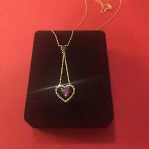 Gold necklace amethyst and diamond