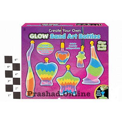 Children Glow In The Dark Sand Art / Bottle Set Make Your Own Activity Craft Kit