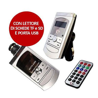 LETTORE TRASMETTITORE FM MP3 PER PRESA ACCENDISIGARI AUTO USB SCHEDA SD MUSICA