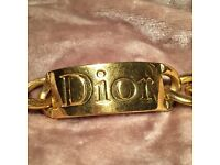 Authentic Dior gold plated statement bracelet .