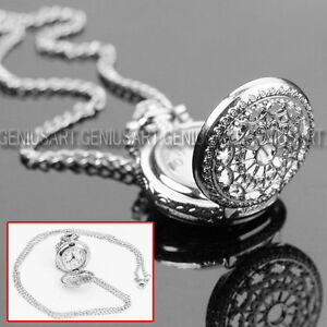 HOT SALE Antique Charm Silver Hollow Quartz Pocket Watch Pendant Necklace Chain