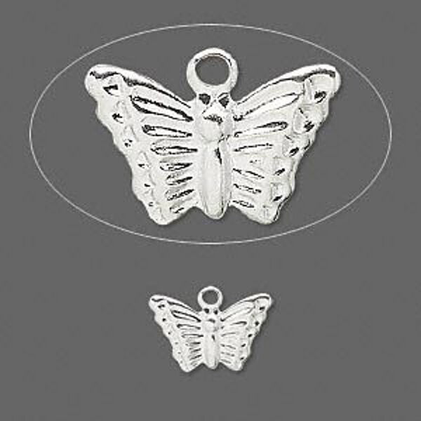 Butterfly Charm Silver Pressed Metal Findings 13 mm Jewelry Scrapbook Lot of 60