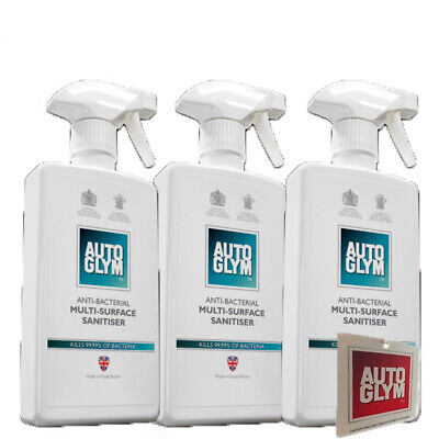 Autoglym Anti-Bacterial Multi Surface Sanitiser 500ml x 3