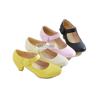 Womens-Ladies-Mid-Kitten-Heels-Ankle-Strap-Pumps-Miss-Causal-Shoes-Loafers-Size