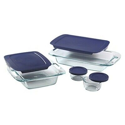 Pyrex 1093839 Easy Grab 8 Piece Bake/Storage Set, glass bakeware w/ plastic lids