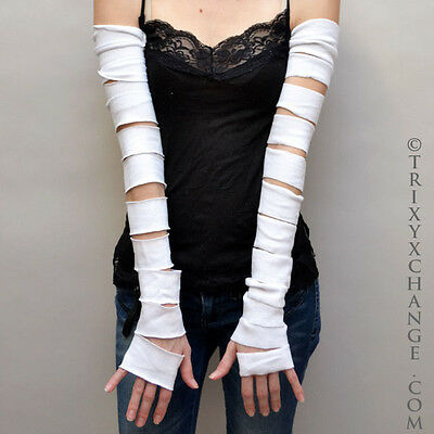 White Extra Long Arm Warmers Cotton Gloves Ripped Torn Mummy Covers Sleeves M23 Cotton Extra Long Gloves