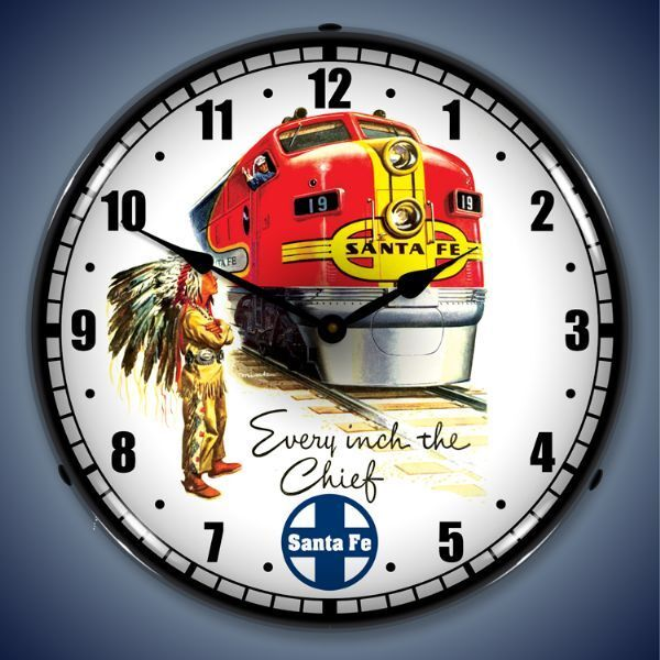 New Sante Fe Train Railroad Every Inch The Chief led LIGHT UP clock USA made 🚂
