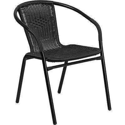 Flash Furniture Black Rattan Indoor-Outdoor Restaurant Stack Chair  NEW