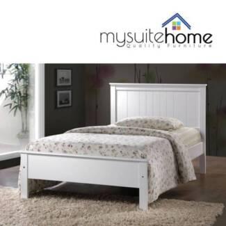 PRESTON Rojo White Single KSingle Timber Bed Frame