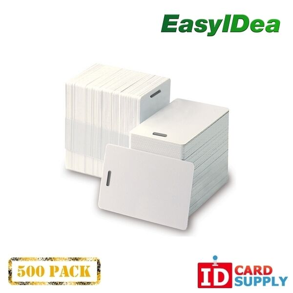 Pack of 500 White CR80 Standard Size PVC Cards with Slot Punch on Short Side by