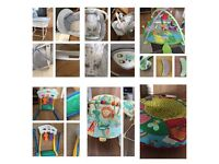Moses basket. Bouncy chair. Toys. Galt. Taggies. Mamas and Papas