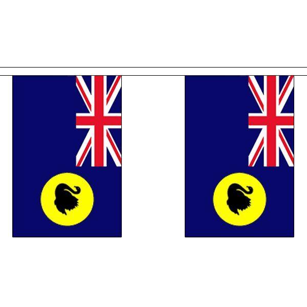 Western Australia Flag Bunting - 3m 6m 9m Metre Length 10 20 30 Flags Polyester