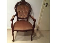 Antique Button Back French Boudoir Chair (two available)