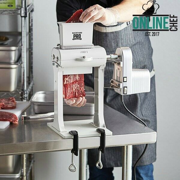 Electric Meat Tenderizer Motor Attachment Two Legs Clamps White Stainless Steel