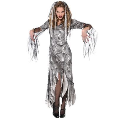 Womens Graveyard Zombie Halloween Costume Fancy Dress Outfit Adult Size 10-12