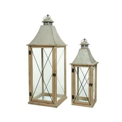 Wooden Lanterns with Metal Roof Set of 2 Pieces Spruce Wood