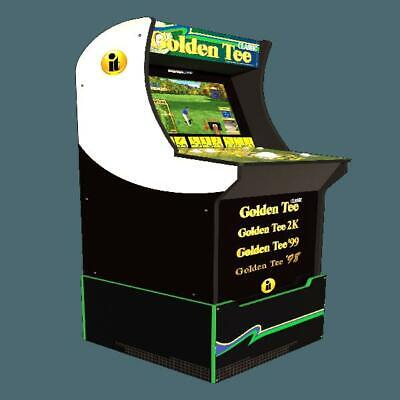 NEW - Golden Tee Arcade Machine with Riser and Lighted Marquee, 4ft, Arcade1UP