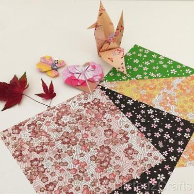 Sakura Origami Paper (100pcs JAPANESE ORIGAMI CRAFT PAPER Folding Sakura Chiyogami Washi 4 design 15cm )