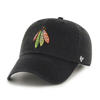 Chicago Blackhawks 47 Brand Nhl Strapback Adjustable Dad Cap Hat Black Clean Up