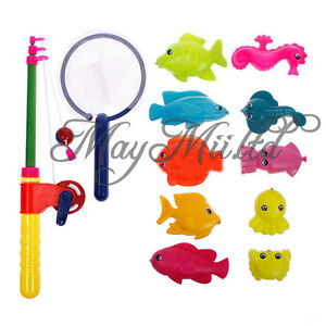 Magnetic Fishing Fish Rod Model Net Game Fun Toy Kid Children Baby Bath Time J