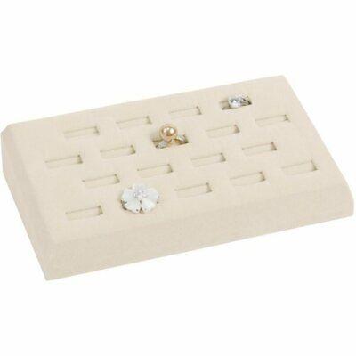 18 Slot Beige Jewelry Ring Display Tray Organizer Holder