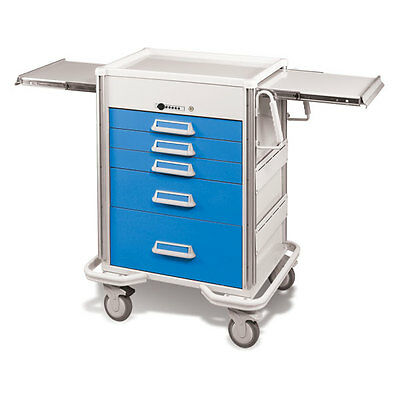 Steel Procedure Cart 5 Aluminum Drawers Push Button Lock 40.625h Crash Cart ...