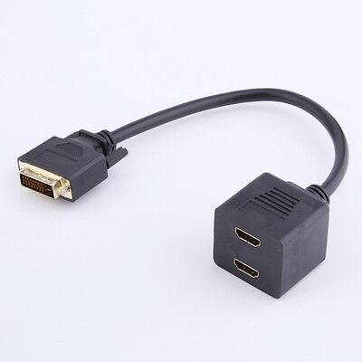 DVI-D (Digital) Male to Two /2 HDMI Dual Female Y-Splitter Adapter Cable Black Digitale Y-splitter
