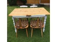 Shabby chic farmhouse pine table and 4 chairs