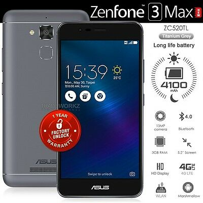 """New ASUS Zenfone 3 Max ZC520TL Grey 5.2"""" IPS LCD 4G LTE Android 6.0.1 Cell Phone"""