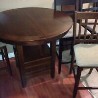 Pub style table and four chairs
