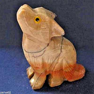 "Peruvian Soapstone Coyote Carving Figurine (1) 2"""