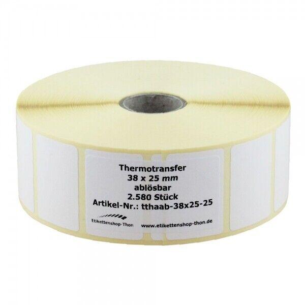 Thermotransfer - Haftetiketten auf Rolle - 38 x 25 mm - 2.580 Stück - ABLÖSBAR