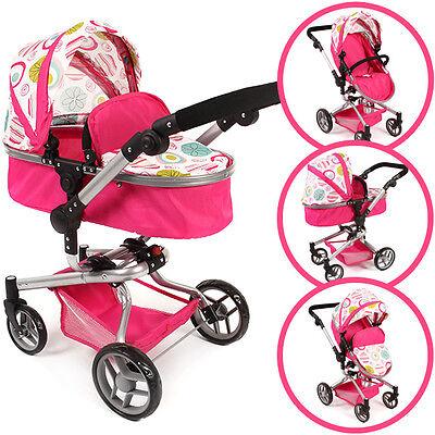 Bayer Chic 2000 Puppenwagen Yolo Flowers 2in1 pink weiß Kombiwagen Kinderwagen