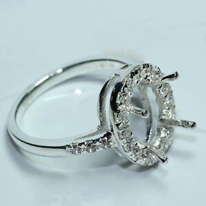 8x10 oval semi-mount setting CZ sterling silver 925 ring #233