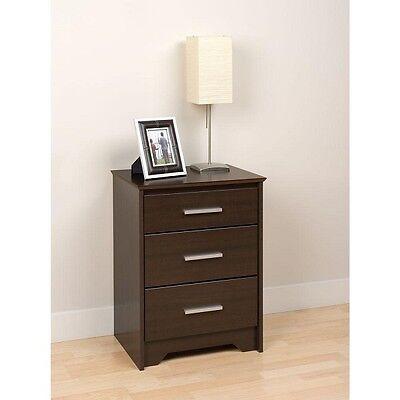 منضدة جانب السرير جديد Prepac Coal Harbor 3 Drawer Tall Nightstand – Espresso