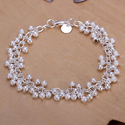 New Women 925 Sterling Silver Plated Charm Grape Beads Chain Bracelet Bangle