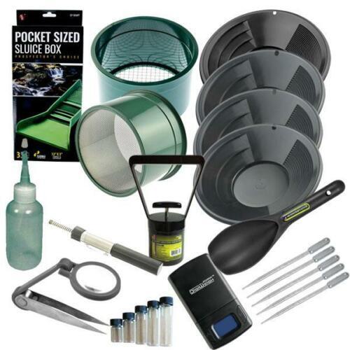 Gold Panning Kit 14 12 10 8 Black Gold Pans Mini Plastic Sluice Box Set & More