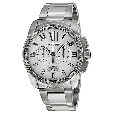 Cartier Calibre de Cartier Silver Dial Chronograph Automatic Mens Watch W7100045