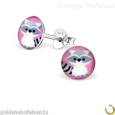 Waschbär Ohrstecker 925 Sterling Silber Ohrschmuck Ohrringe Kinder - Waschbär Ohren